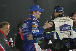 Victory lane: Brian Vickers congratulates Jimmie Johnson