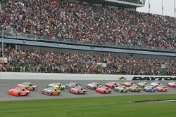 Green flag: Jeff Burton takes the lead