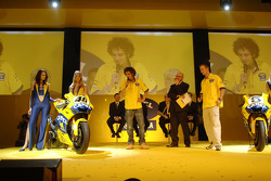 Valentino Rossi and Colin Edwards on stage