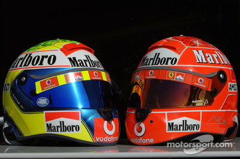 Helmets of Felipe Massa and Michael Schumacher