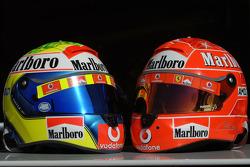 Helmets of Felipe Massa and Michael Schumacher