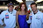Christijan Albers and Tiago Monteiro with the face of Fosters Kasia