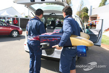 Toro Rosso nose cones arrive in the back of a car