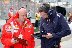 Ferrari and Williams team members swap data