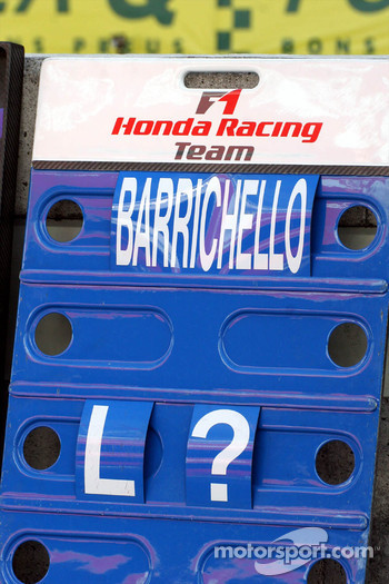Rubens Barrichello's pit board