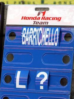 Rubens Barrichello's pit board