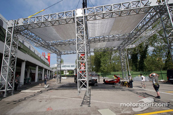 Setup of the Red Bull Energy Station and paddock area: Sunday