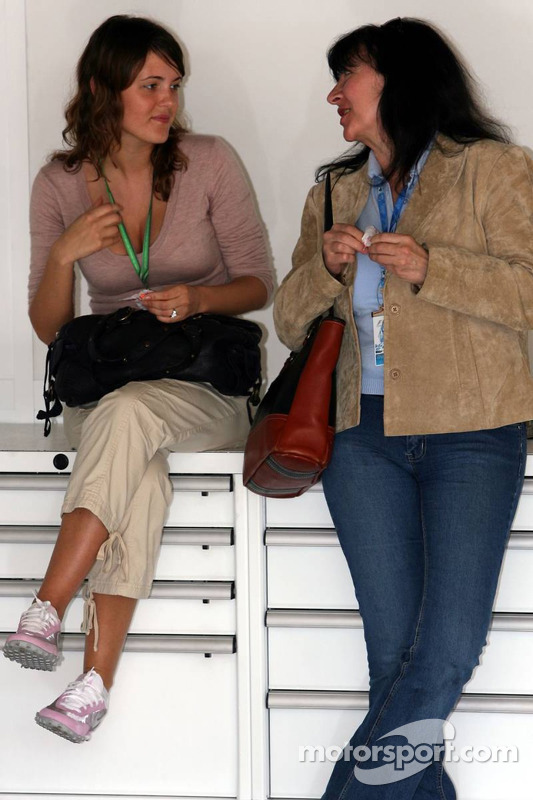 Johanna, girlfriend  of Jacques Villeneuve, with Joanne, mother of Jacques Villeneuve