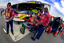 Greg Biffle's team prepares his Ford Fusion for practice