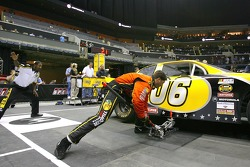 Jeff Kerr, jackman on the winning #1 Bass Pro Shops Chevrolet team, competes during the NASCAR Nextel Pit Crew Challenge