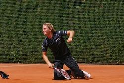 Tennis match: Nico Rosberg and Boris Becker
