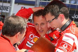 Jean Todt, Michael Schumacher and Chris Dyer