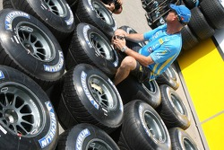 Renault F1 Team prepare their Michelin tires