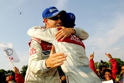 Race winners Rinaldo Capello and Allan McNish celebrate