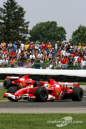 Felipe Massa leads Michael Schumacher