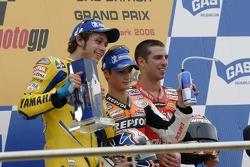 Podium: race winner Dani Pedrosa with Valentino Rossi and Marco Melandri