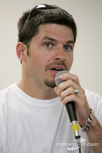 Patrick Carpentier responds to questions from the media