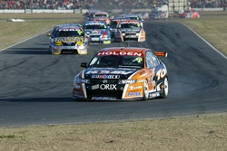 Garth Tander leads the field on the first lap of Race 3