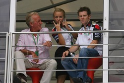 John Button, father of Jenson Button, Jules Kuplinski, personal assistant to Jenson Button and Anthony Davidson