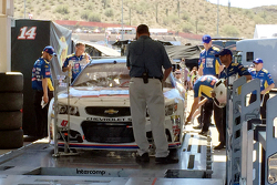 The car of A.J. Allmendinger, JTG Daugherty Racing Chevrolet goes through inspection