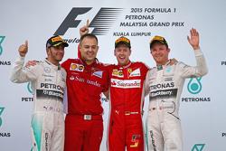 Podium: race winner Sebastian Vettel, Ferrari, second place Lewis Hamilton, Mercedes AMG F1, third place Nico Rosberg, Mercedes AMG F1, Diego Ioverno Ferrari Operations Director
