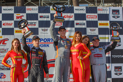 GT Cup winners podium: First placed Colin Thompson, second placed Mitch Landry, and third placed Victor Gomez