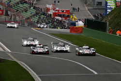 #7 Marcel Fassler, Andre Lotterer, Benoit Treluyer and #8 Lucas Di Grassi,Loïc Duval, Oliver Jarvis Audi Sport Team Joest Audi R18 e-tron quattro Hybrids and #17 Timo Bernhard, Mark Webber, Brendon Hartley and #19 Nico Hulkenberg, Earl Bamber, Nick Tandy