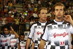 National drivers charity football match at Stadio Brianteo Stadio Brianteo: Felipe Massa, Robert Doornbos and Jarno Trulli