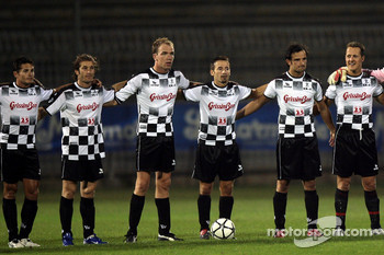 National drivers charity football match at Stadio Brianteo Stadio Brianteo: Giancarlo Fisichella, Jarno Trulli, Robert Doornbos, Max Biaggi, Vitantonio Liuzzi and Michael Schumacher