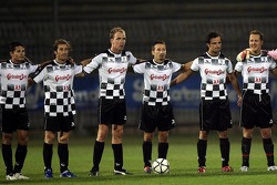 National drivers charity football match at Stadio Brianteo Stadio Brianteo: Giancarlo Fisichella, Jarno Trulli, Robert Doornbos, Max Biaggi, Vitantonio Liuzzi and Michael Schumacher