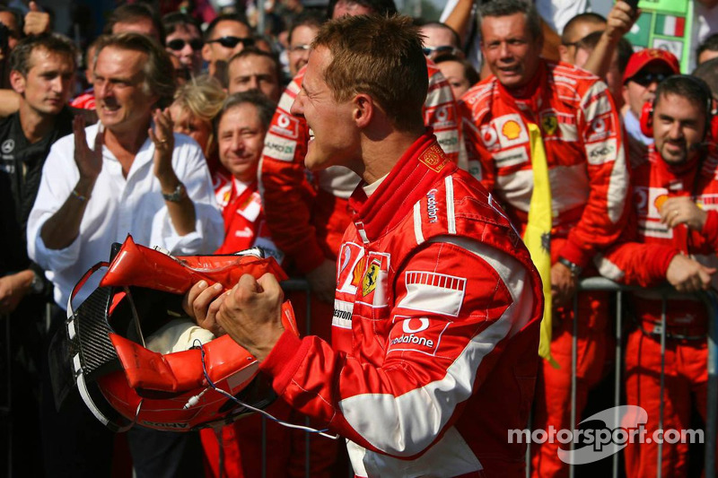 Race winner Michael Schumacher celebrates