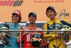 Podium: race winner Marco Melandri with Chris Vermeulen and Valentino Rossi