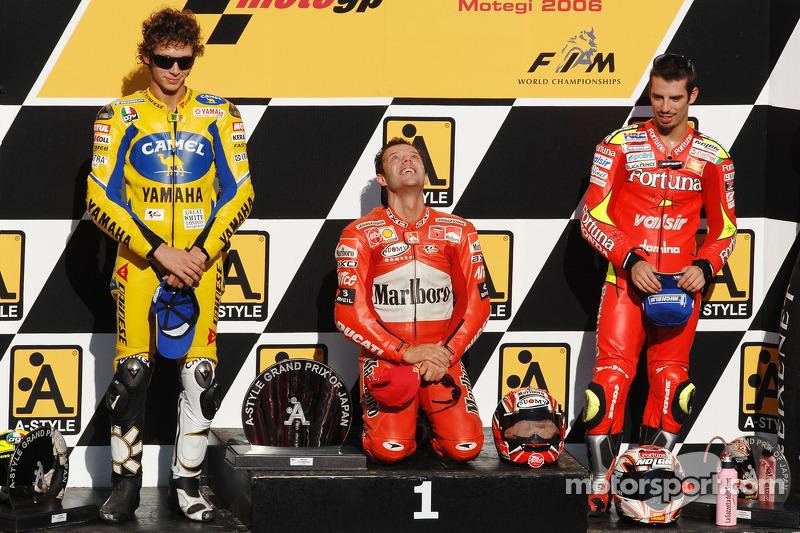 2006: 1. Loris Capirossi, 2. Valentino Rossi, 3. Marco Melandri