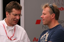 JJ Lehto in the Audi Sport North America paddock area
