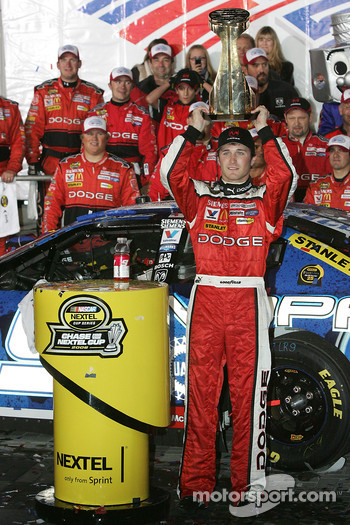 Victory lane: race winner Kasey Kahne celebrates