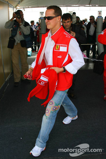 Michael Schumacher arrives at the circuit