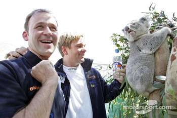 Manfred Stohl and Henning Solberg with a koala