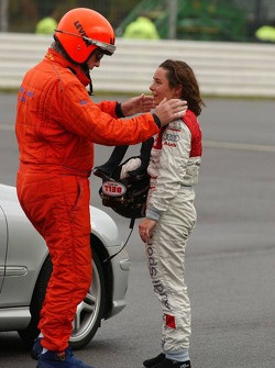 Vanina Ickx checked by a doctor after her crash