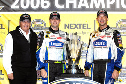 Championship victory lane: 2006 NASCAR Nextel Cup champion Jimmie Johnson celebrates with Rick Hendrick and Chad Knaus