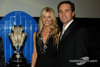 Chandra Johnson and Jimmie Johnson pose for a photo following the 2006 NASCAR NEXTEL Cup Series Awards Ceremony