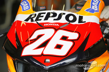 Detail of the bike of Dani Pedrosa
