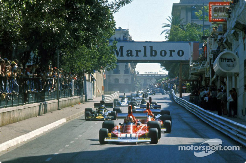 First lap: Clay Regazzoni leads Ferrari teammate Niki Lauda