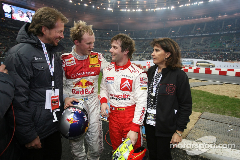 Race of Champions winner Mattias Ekström celebrates with Sébastien Loeb, Michèle Mouton and Fredrik Johnsson
