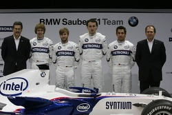 Dr. Mario Theissen, BMW Motorsport Director, Sebastian Vettel, Nick Heidfeld, Robert Kubica, Timo Glock, Willy Rampf,
