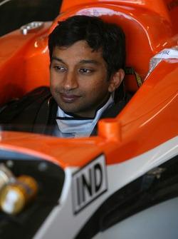 Seat fitting for Narain Karthikeyan