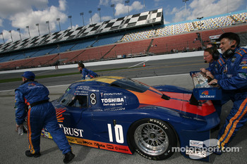 The #10 SunTrust Racing Pontiac Riley is rolled to the pre-grid