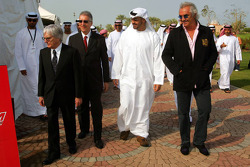 Bernie Ecclestone, Piero Lardi Ferrari, Sheikh Mohammed bin Zayed al Nahayan and Flavio Briatore, Renault F1 Managing Director