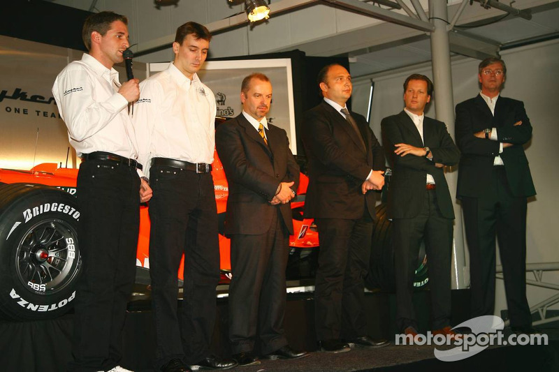 Christijan Albers, James Key, Spyker F1 Team, Technical Director, Mike Gascoyne, Spyker F1 Team, Chief Technology Officer, Colin Kolles, Spyker F1 Team, Team Principal, Michiel Mol, Director of Formula One Racing, Spyker and Spyker F1 Team, Victor Muller,