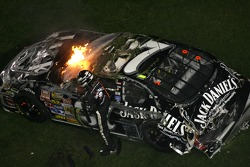 Last lap crash: Clint Bowyer out of his car