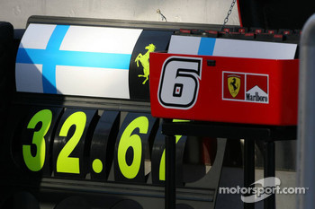 The pit board of Kimi Raikkonen